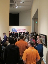 "Crowd at the opening of the ""We Could Be Heroes"" exhibition at the BYU Museum of Art"