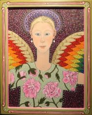 LEE UDALL BENNION, Angel with Pink Peonies, SOLD $3,300