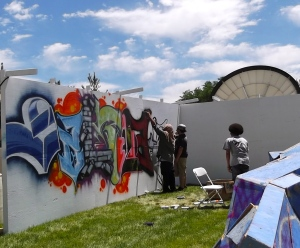 Graffiti artists at the Utah Arts Festival at Library Square in Salt Lake City