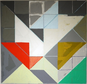 "ELLEN MCCONNELL, Green Tri, ""Eight Squared Series,"" 48""x48,"" $750"