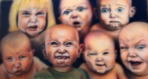 "SHAUN NOBLE, Babies, 22""x38"" airbrush on illustration board, 2014, $500"