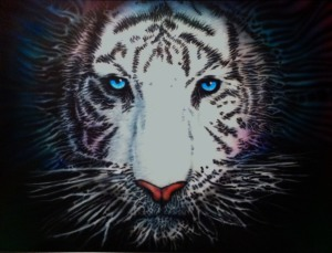 "SHAUN NOBLE, Ethereal Tiger, 22""x30"" airbrush on vinyl, 2014, $300"