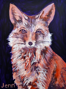 "JENNIFER SEELEY, Foxy Girl, 2014, 18 x 24,"" $200"