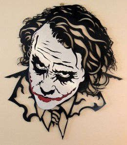 "SHAUN NOBLE, The Joker, 26.5""x23.5"" airbrush on plate aluminum, 2011, $350"