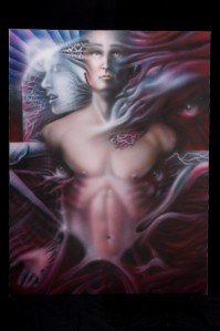 "SHAUN NOBLE, Soul, Mind, and Body, 36""x48"" airbrush on canvas, 2000, $2500"