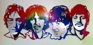 "SHAUN NOBLE, The Beatles! 26""x48"" airbrush on plate aluminum, 2014, $400"