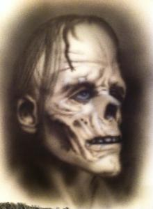 "SHAUN NOBLE, Zombie, 12""x16"" airbrush on Bristol paper, 2014, $100"