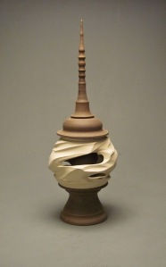 "BLAINE ATWOOD, Canyon Finial Pot 1, Ceramic - Unglazed Colored Clay, 2.5' tall 10"" wide, Five Separate Stackable Sections, 2013"