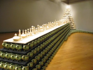 BLAINE ATWOOD, Front Side View of Accumulation of Divine Service, Ceramic on Wood Shelving, 18' long 7' tall, Over 1000 Wheel Thrown Pottery Vessels, 2014
